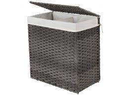 Panier à linge tissé - 2 compartiments de 55 litres chacun - rotin synthétique - 57x60x33 cm - gris