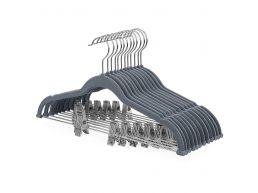Cintres antidérapants - clips réglables - crochet rotatif - 12 pièces - gris