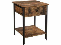 Table d'appoint - aspect industriel - avec tiroir et étagère - vintage brun