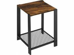 Table d'appoint - avec grille - carrée - 40x50x40 cm - brun vintage