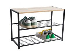 Range-chaussures - avec banc - 63x43x30 - chêne clair