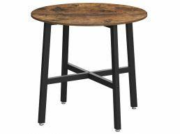 Petite table repas - ronde - look industriel - 80x75 cm - brun vintage