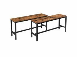 Set de 2 bancs de tables repas - look industriel - 108x50x32,5 cm - brun vintage