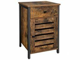 Table de chevet - look industriel - avec tiroir - 40x60x40 cm - brun vintage