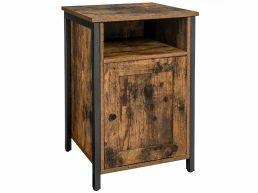 Table de chevet - look industriel - 1 porte 1 niche - 40x60x40 cm - brun vintage