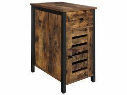 Table de chevet - avec tiroir et porte - look industriel - 30x60x50 cm - brun vintage