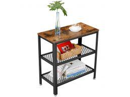 Table d'appoint - style industriel - 2 étagères en filet - 60x60w3 cm - brun vintage