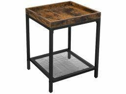 Table d'appoint - look industriel - avec étagère grillagée - 40x55x40 cm - brun vintage