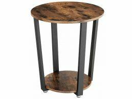 Table d'appoint - cylindrique - look vintage - 50x57x50 cm - brun vintage