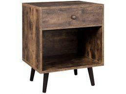 Table de chevet - avec tiroir et compartiment ouvert - 50x58x40 cm - brun vintage