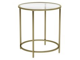 Table d'appoint ronde - verre trempé - 50x55x50 cm - or