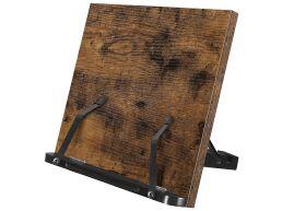 Support de lecture - présentoir livre de cuisine - pliable et réglable - 35x24x1,2 cm - brun vintage