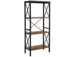 Bibliothèque - look industriel - 4 étagères - 60x133x30 cm - brun vintage