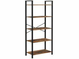 Bibliothèque - aspect industriel - 5 étagères - 66x153x30 cm - brun vintage