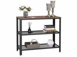Table console haute - 2 étagères - look industriel - 101,5x80x35 cm - brun vintage