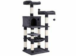 Arbre à chat - avec maisons et paniers - 55x143x45 cm - gris foncé