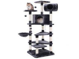 Arbre à chat XXL - plusieurs niveaux - avec maison et jouets - 60x165x60 cm - gris foncé