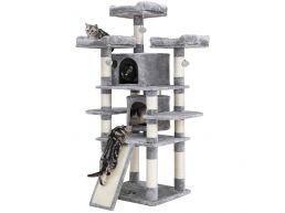 Arbre à chat - pour plusieurs chats - stable pour un chat adulte - 60x172x55 cm - gris clair