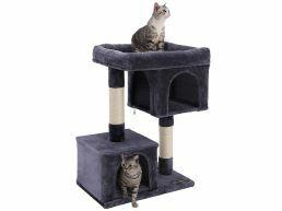 Arbre à chat - avec maison et panier - 60x84x40 cm - gris foncé
