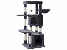Arbre à chat - avec deux maisons et jouets - pour plusieurs chats - 49x120x45 cm - gris foncé