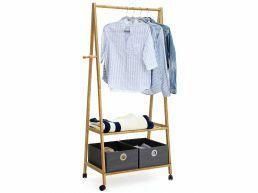 Porte vêtements - 2 étagères - 4 crochets - 69,5x152x43 cm - bambou