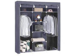 Grande armoire XXL - tissu et métal - 150x175x45 cm - gris