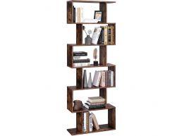 Bibliothèque avec étagères ouvertes - 6 compartiments - 190,5 cm de hauteur - brun