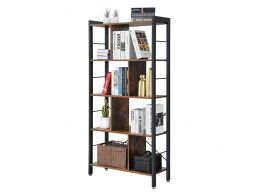 Bibliothèque - look industriel - 74x154,5x30 cm - vintage brun