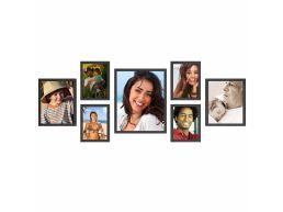 Lot de 7 cadres photo - formats 28x35,20x25,15x20 x MDF - noir