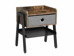 Deuxième chance - Table de chevet - aspect industriel - avec tiroir - 46x52,5x25,5 cm - vintage brun