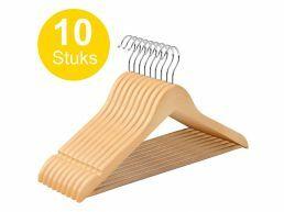 Cintres - crochet rotatif - 10 pièces - bois massif - érable de qualité - brun naturel