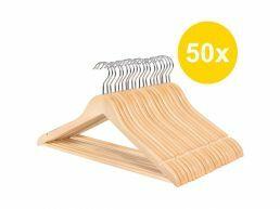 Cintres - crochet rotatif - 50 pièces - bois massif - érable de qualité - brun naturel