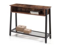 Table console haute - vintage - avec rangement - 100x80x35 cm - brun vintage