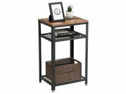 Table console haute - look industriel - 45x75x35 cm - brun vintage