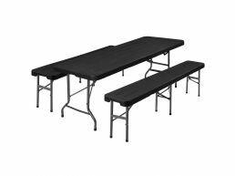 Ensemble de salon de jardin - avec table et 2 bancs - pliable - aspect rotin - noir