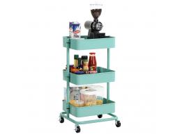 Chariot de cuisine - métal - 3 niveaux - vert menthe