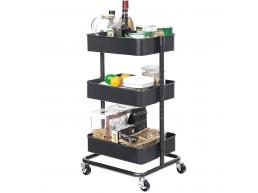 Chariot de cuisine - métal - 3 niveaux - 43x73,5x35 cm - gris
