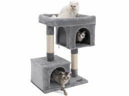 Deuxième chance - Arbre à chat - avec maison et panier - 60x84x40 cm - gris clair