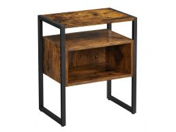 Table de chevet - avec tablette - 44x53x30 cm - brun vintage