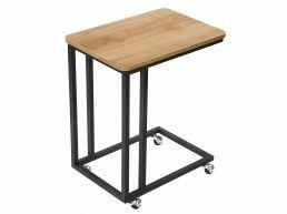 Table d'appoint mobile - avec roulettes - 50x60x35 cm - brun miel