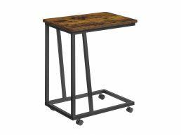 Table d'appoint - avec roulettes - 50x59x35 cm - brun vintage