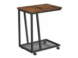 Table d'appoint - sur roulettes - avec étagère métallique - 50x59x35 cm - brun vintage