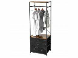 Armoire ouverte - avec tiroirs en tissu - 63x180x45 cm - brun vintage
