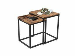 Deuxième chance - Lot de 2 tables d'appoints - 55 cm d'hauteur - vintage brun