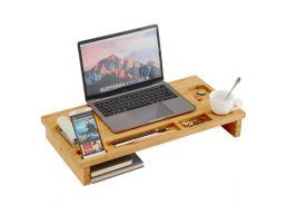 Rehausseur d'écran - pour pc ou laptop - 60x8,7x30 cm - bambou
