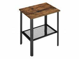 Table d'appoint - avec grille - rectangulaire - 50x55,5x40 cm - brun vintage