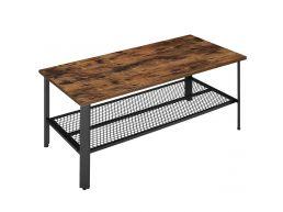 Table basse - aspect industriel - 110x45x55 cm - brun vintage