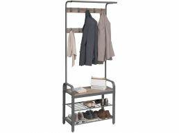 Porte-manteau - vintage - 9 crochets - 72x183x34 cm - gris clair