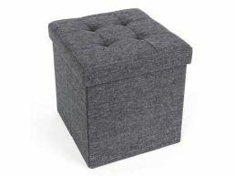 Pouf - pliable - sans pieds - tissu - 38 cm - gris foncé