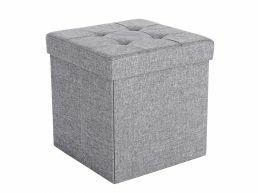 Pouf - pliable - sans pieds - tissu - 38 cm - gris clair